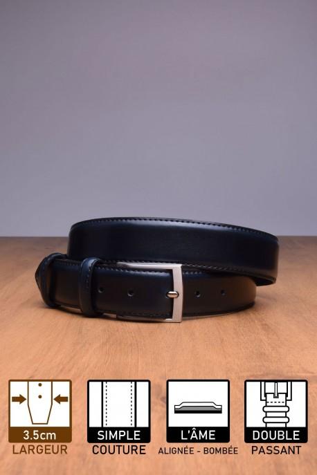 NOS004/35 Leather Belt - Navy