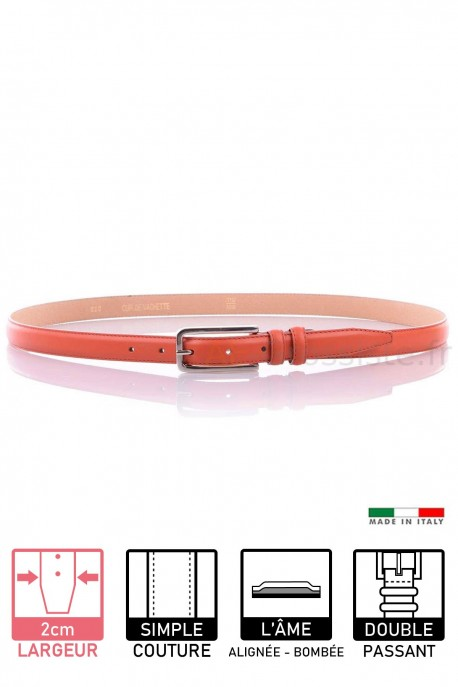 020 Women's leather Belt - Orange