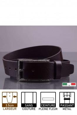 14815/4 Leather belt - Dark brown