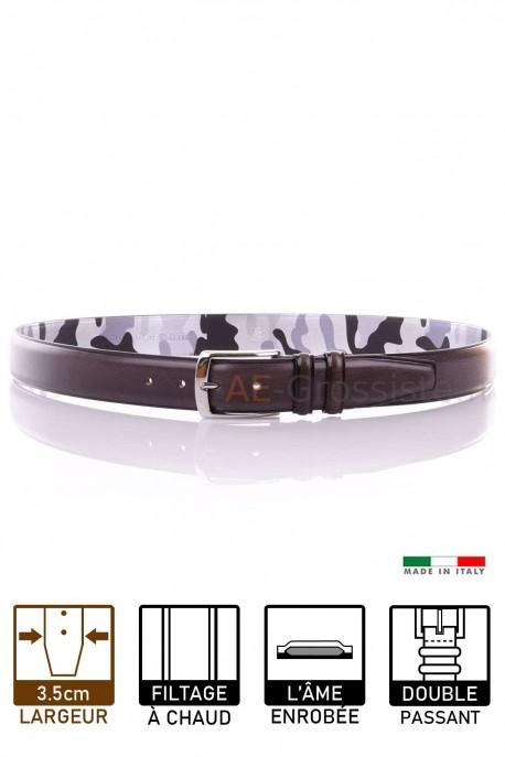 MV1669 Leather Belt - Dark gray