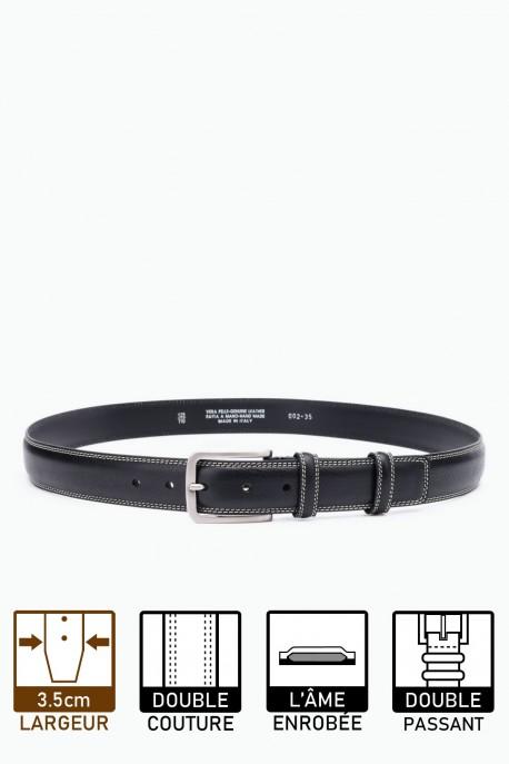 ZE-002-35 Leather Belt - Black