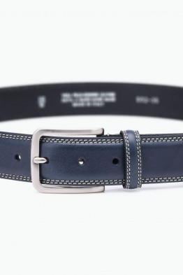 ZE-002-35 Leather Belt - Navy Blue