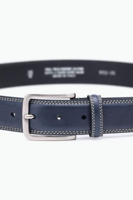ZE-002-35 Leather Belt - Navy Blue