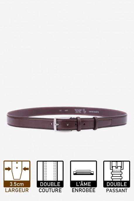 J285 extra long italian brown leather belt