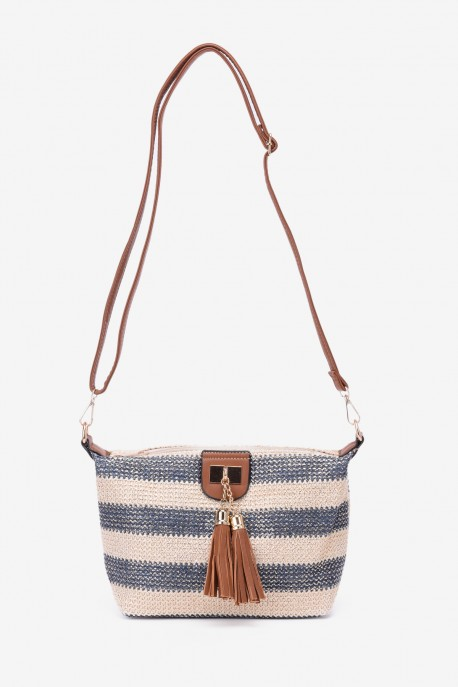 HB-88-GD Synthetic straw crossbody bag