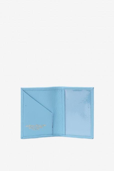 SF6003-skybleu Leather card holder - La Sellerie Française