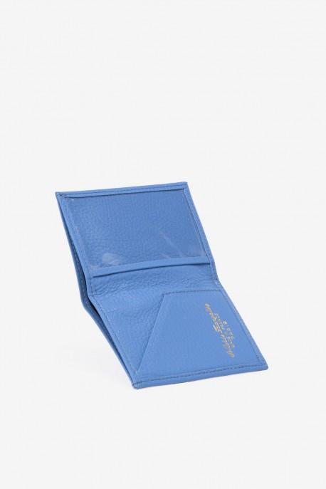 SF6003-bleu Leather card holder - La Sellerie Française