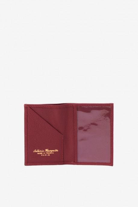 SF6003-Bordeaux Leather card holder - La Sellerie Française