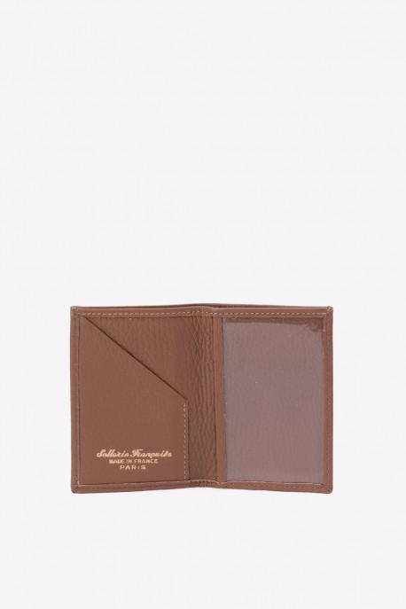 SF6003-cognac Leather card holder - La Sellerie Française