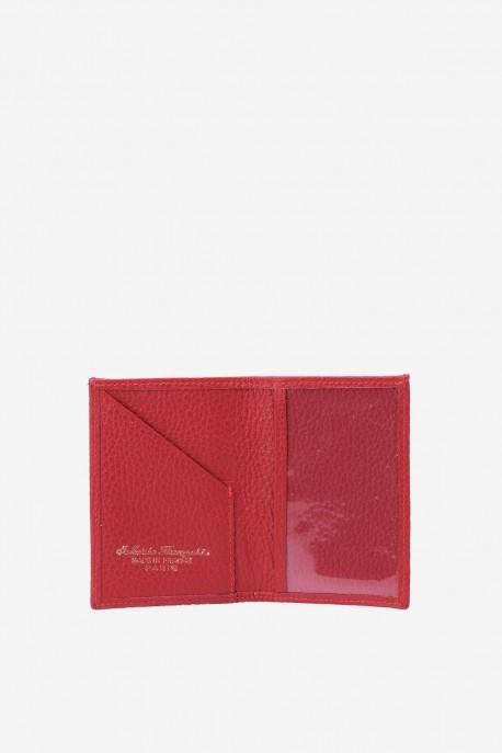 SF6003-Red Leather card holder - La Sellerie Française