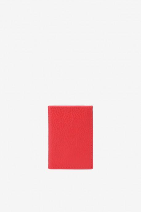 SF6003-Light Red Leather card holder - La Sellerie Française