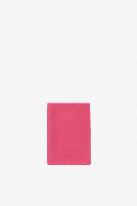SF6003-Fuchsia Leather card holder - La Sellerie Française
