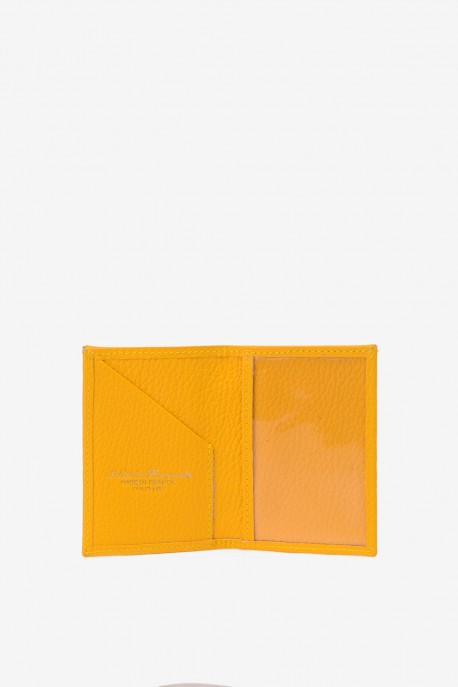 SF6003-Yellow Leather card holder - La Sellerie Française
