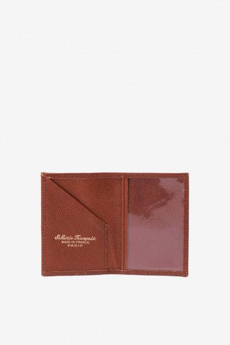 SF6003-Marron Leather card holder - La Sellerie Française