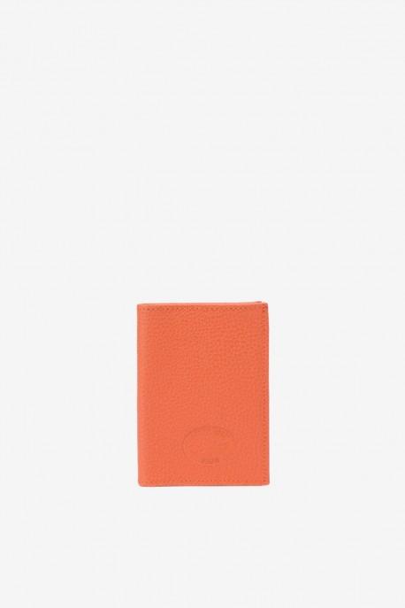 SF6003 Orange Leather card holder - La Sellerie Française