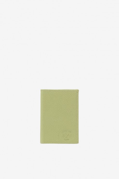 SF6003 Light Green Leather card holder - La Sellerie Française