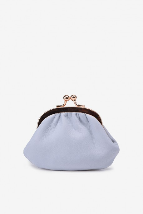 SF450 Leather purse Gray Pastel blue