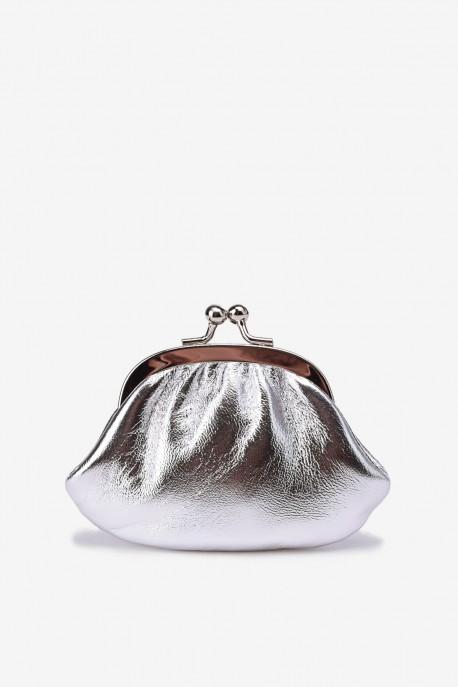 SF450 Leather purse shining silver