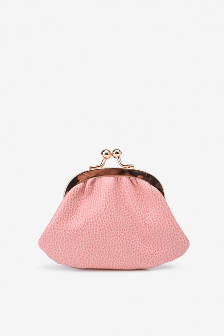 SF450 Leather purse pink granulated