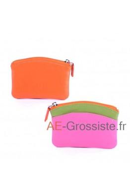 Porte-monnaie cuir Fancil multicolore FA908 Orange