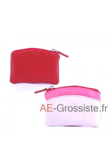 Porte-monnaie cuir Fancil multicolore FA908 Rouge