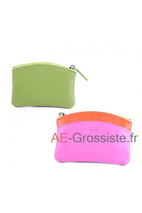 Porte-monnaie cuir Fancil multicolore FA908 Vert