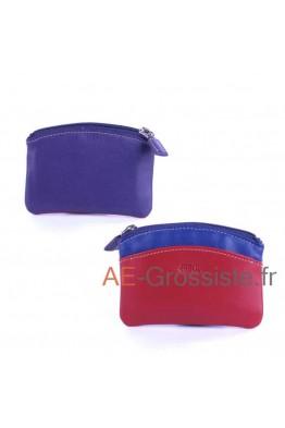 Porte-monnaie cuir Fancil multicolore FA908 Violet
