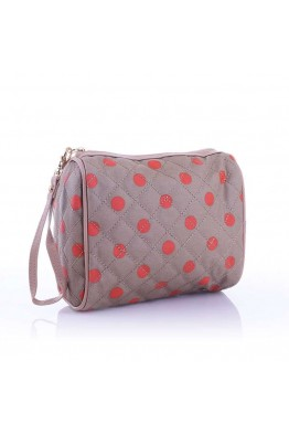 LW6308 Dot pattern Make Up bag - camel