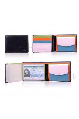 Portefeuille cuir multicolore format italien Fancil FA911
