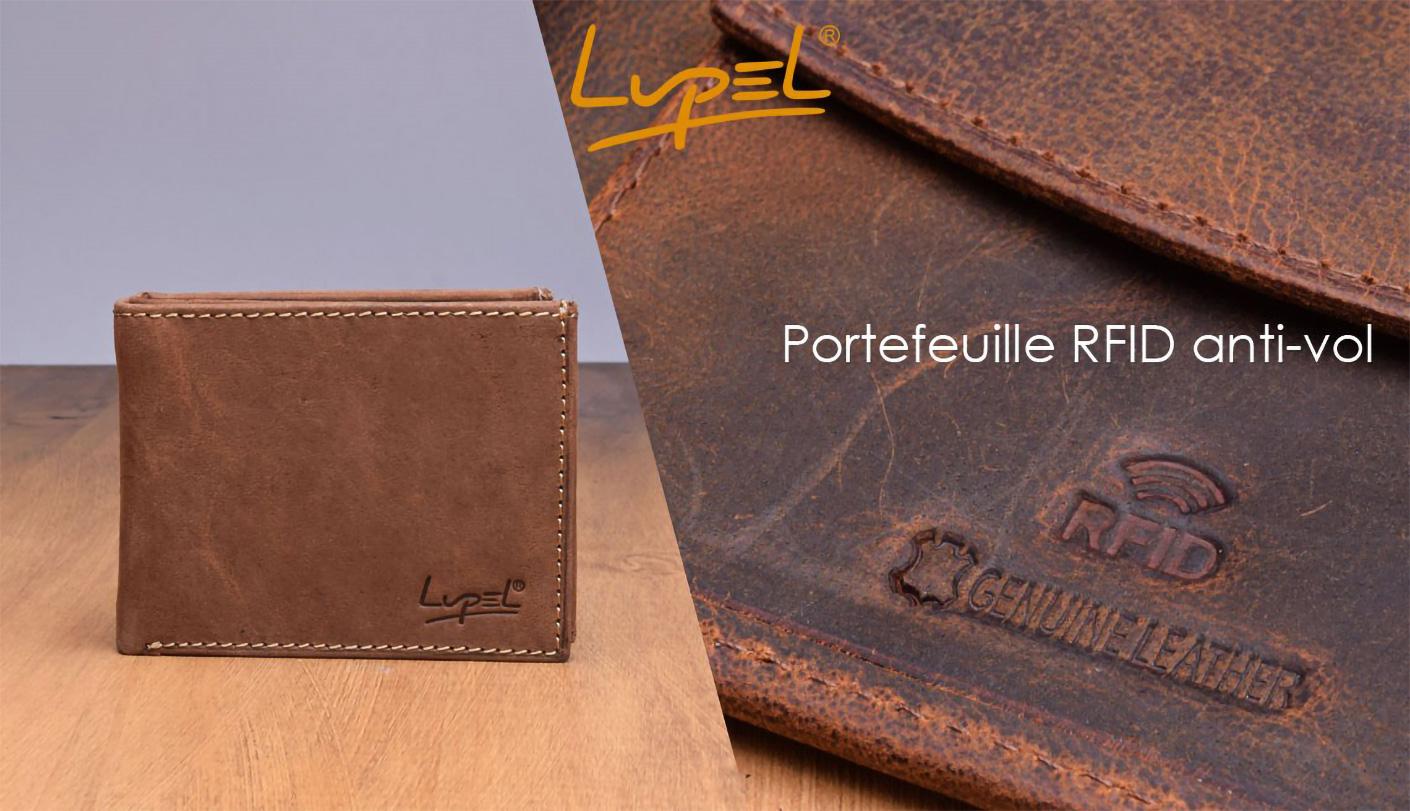 Lupel - Nouvelles gammes de portefeuille, porte-monnaie en cuir véritable, avec la protection de carte sans contacte.
