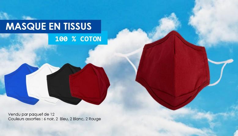 Masque de barrière en tissu 100% coton